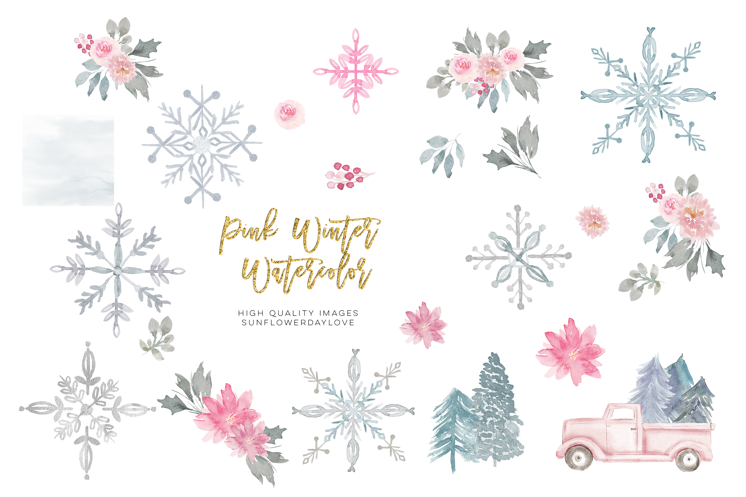 Pink Christmas clipart, floral Pink watercolor clipart example image 5