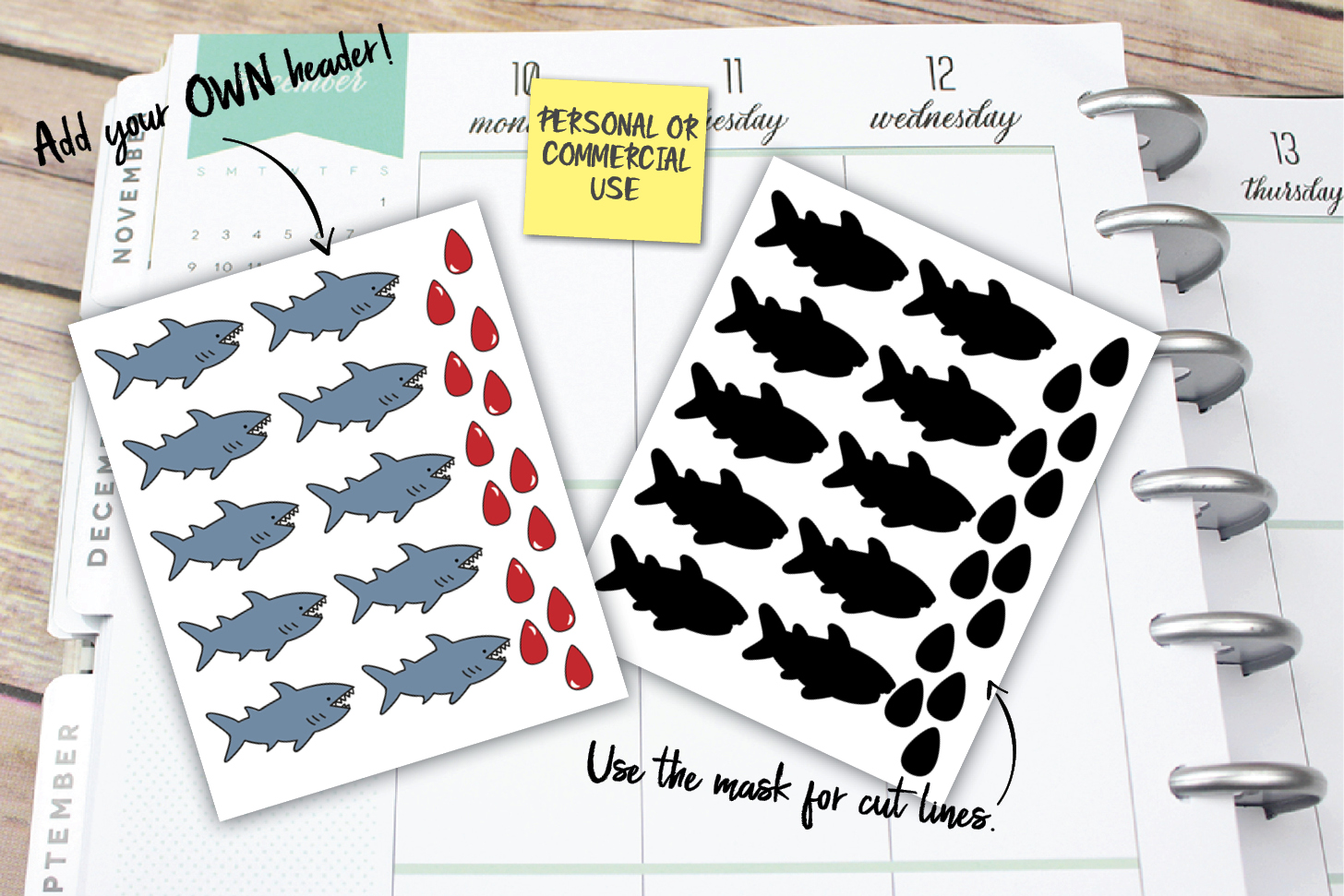 Shark Week Planner Stickers example image 1