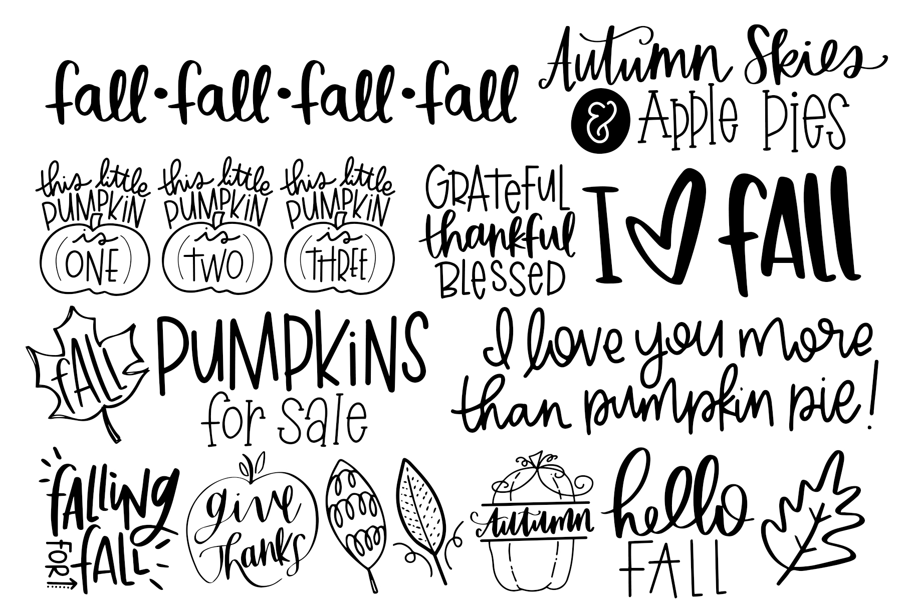 Fall Phrases Symbols Font example image 3