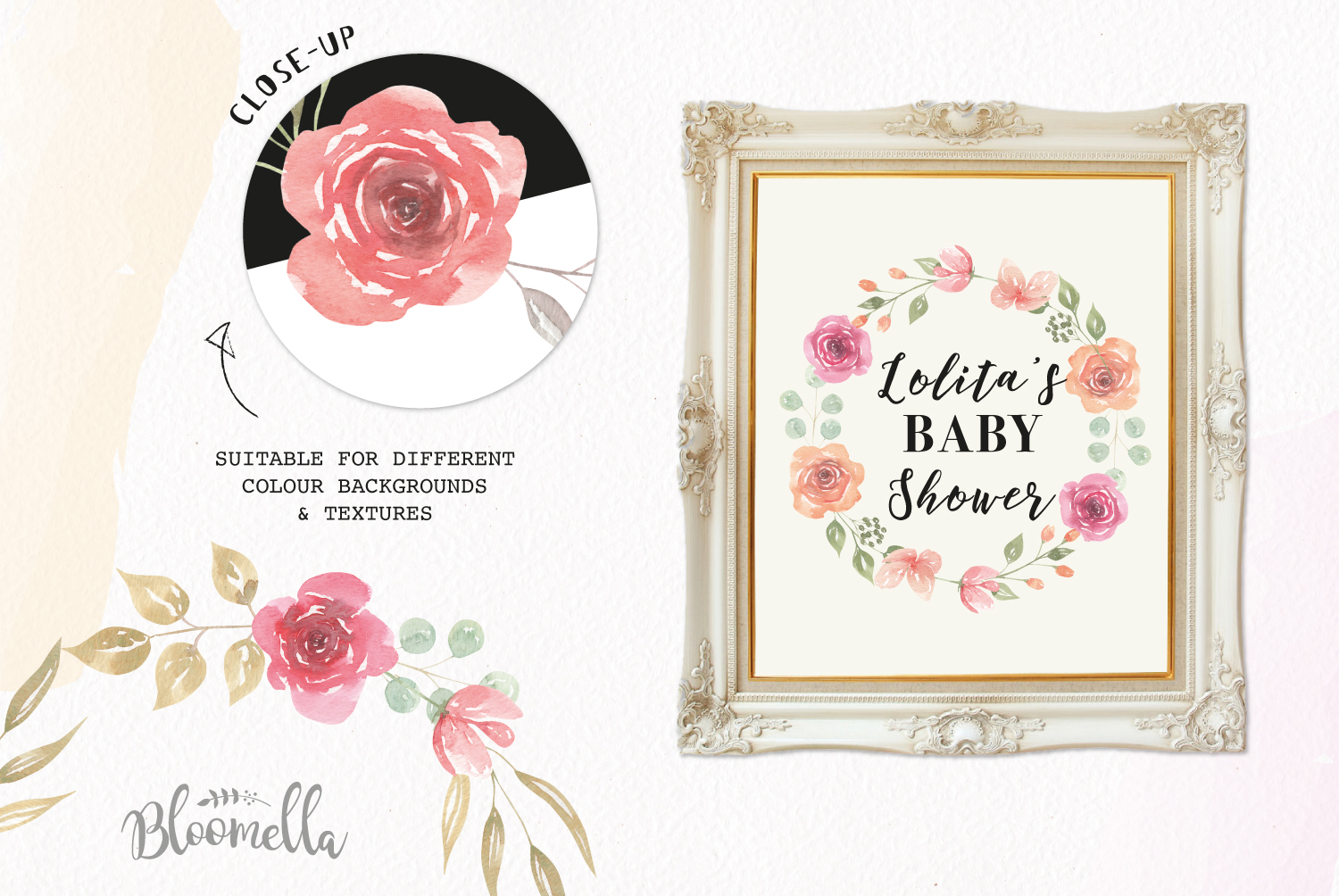 Rose Watercolor Floral Wreaths 8 Red Peach Flower Wedding example image 2