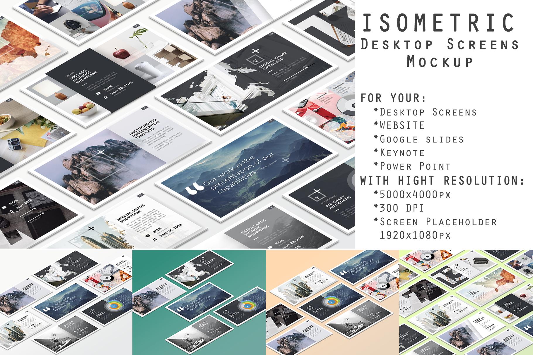 Isometric Desktop Screens Mockup V01 example image 1