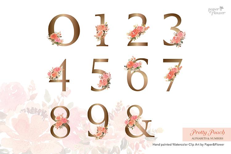 Peach Rose Watercolor Alphabet Set example image 4