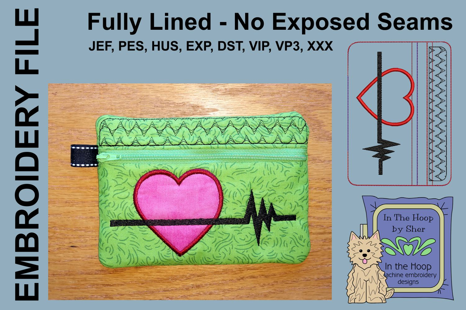 ITH Heart Healthy Zipper Bag - Fully Lined, 5X7 HOOP example image 1