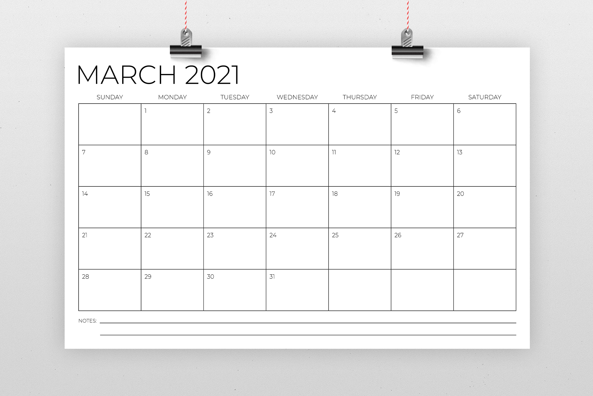 11 x 17 Inch Modern 2021 Calendar example image 2