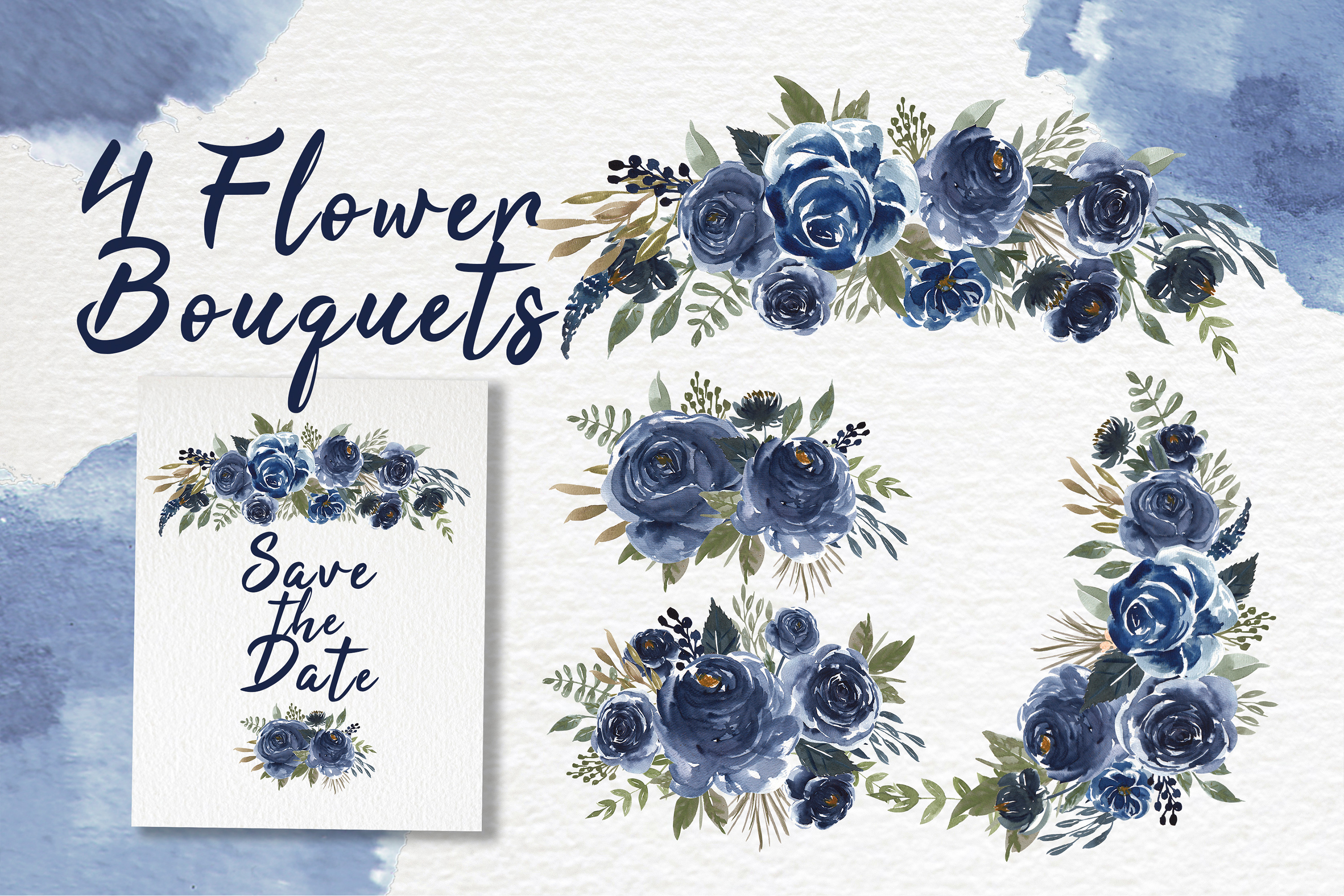 Navy Blue Flower Watercolor Clip-art example image 2
