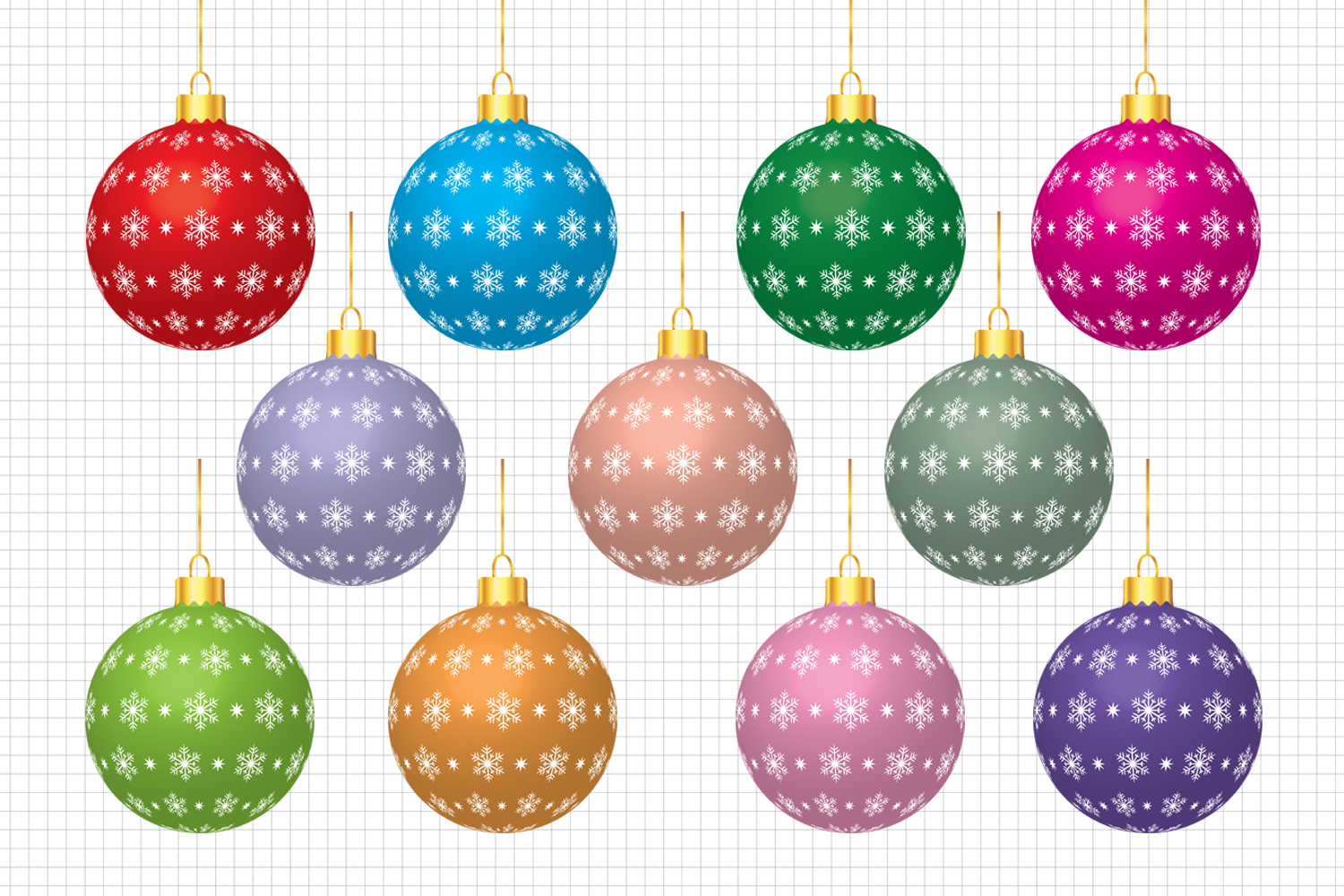 Christmas Balls Clipart, Christmas Graphic and Illustrations, Christmas Clipart / Scrapbooking, Card Making, Decorations example image 1