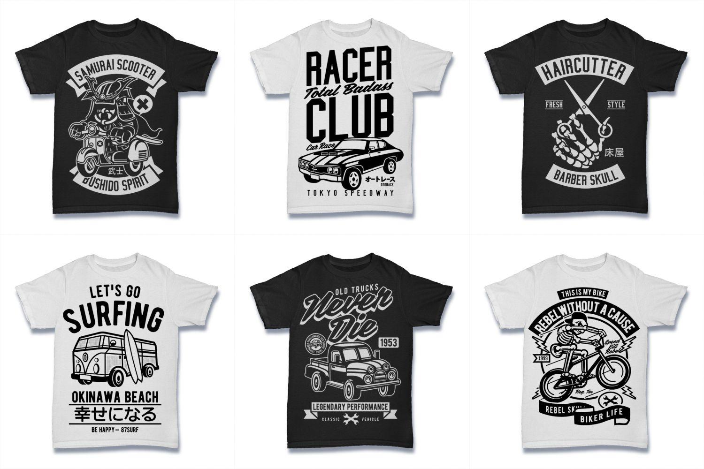 100  Vector Tshirt Designs ( B/W Concept ) example image 4