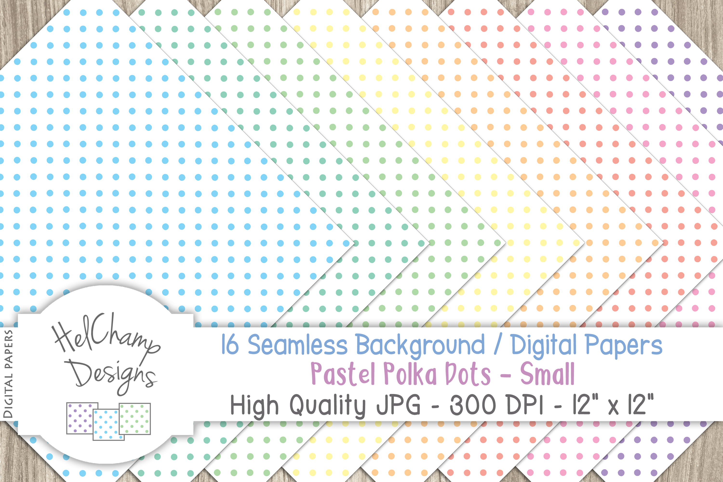 16 seamless Digital Papers - Pastel Polka Dots Small - HC009 example image 5