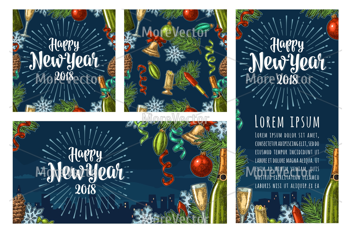 BUUNDLE Seamless pattern, posters, illustration with Happy New Year 2018 lettering with salute. example image 5