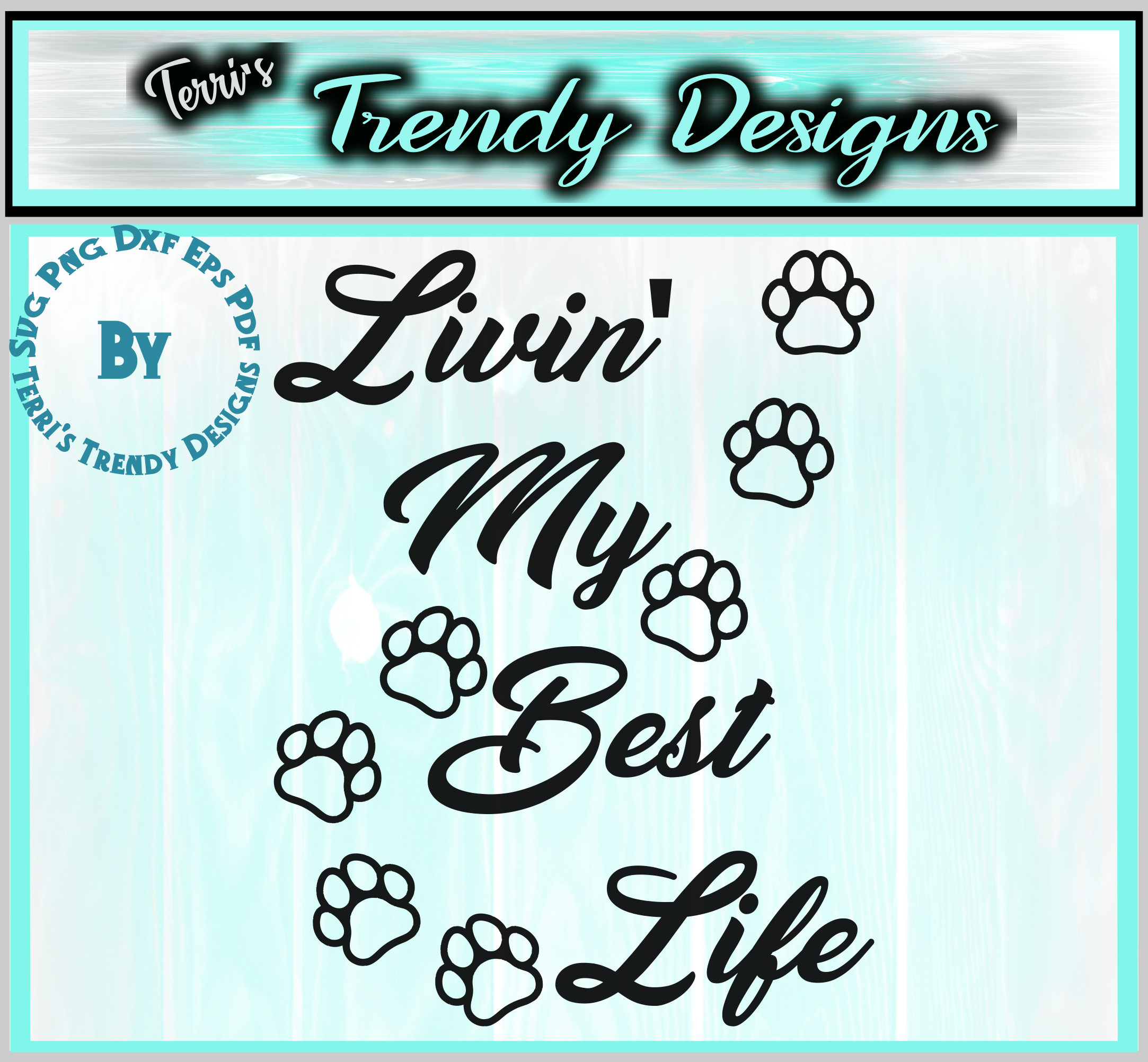 Cat lover livin' the best life cute paws svg png dxf eps pdf example image 6