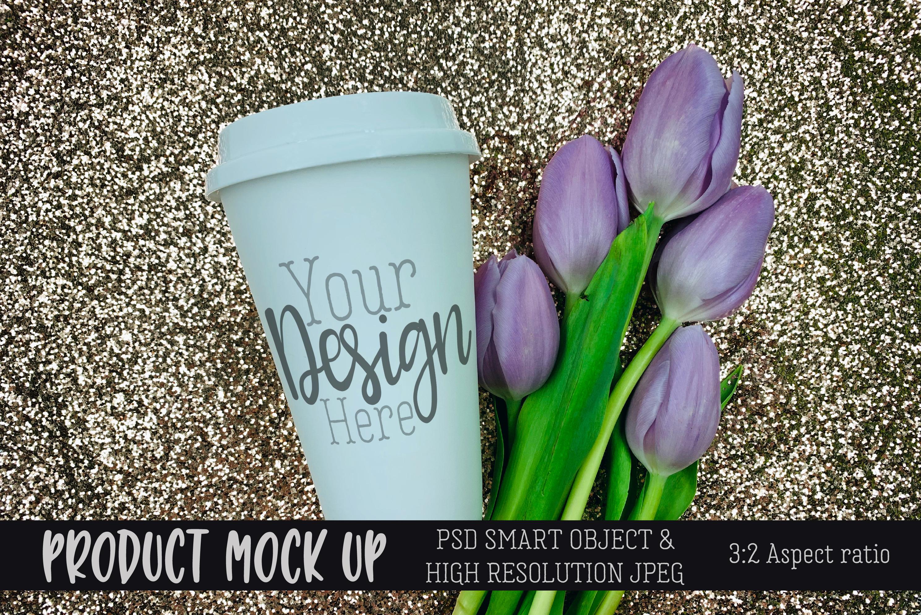 Glitter travel mug Craft mock up | PSD & JPEG example image 1