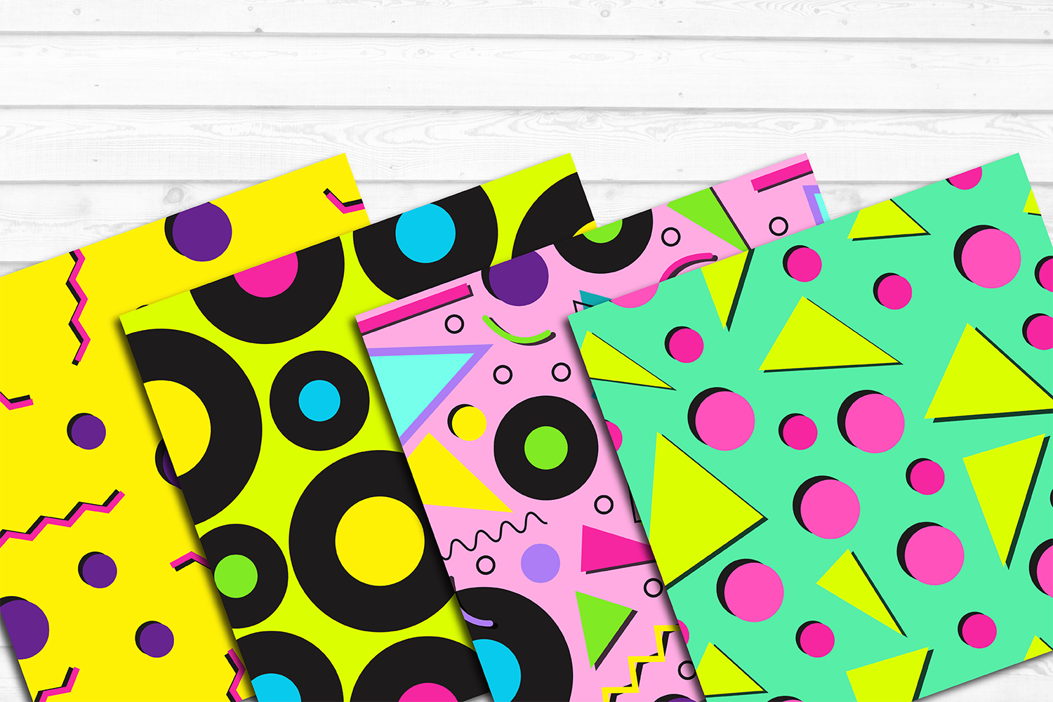 12 80s 90s Style Retro Neon Pop Art Pattern Digital Papers example image 2