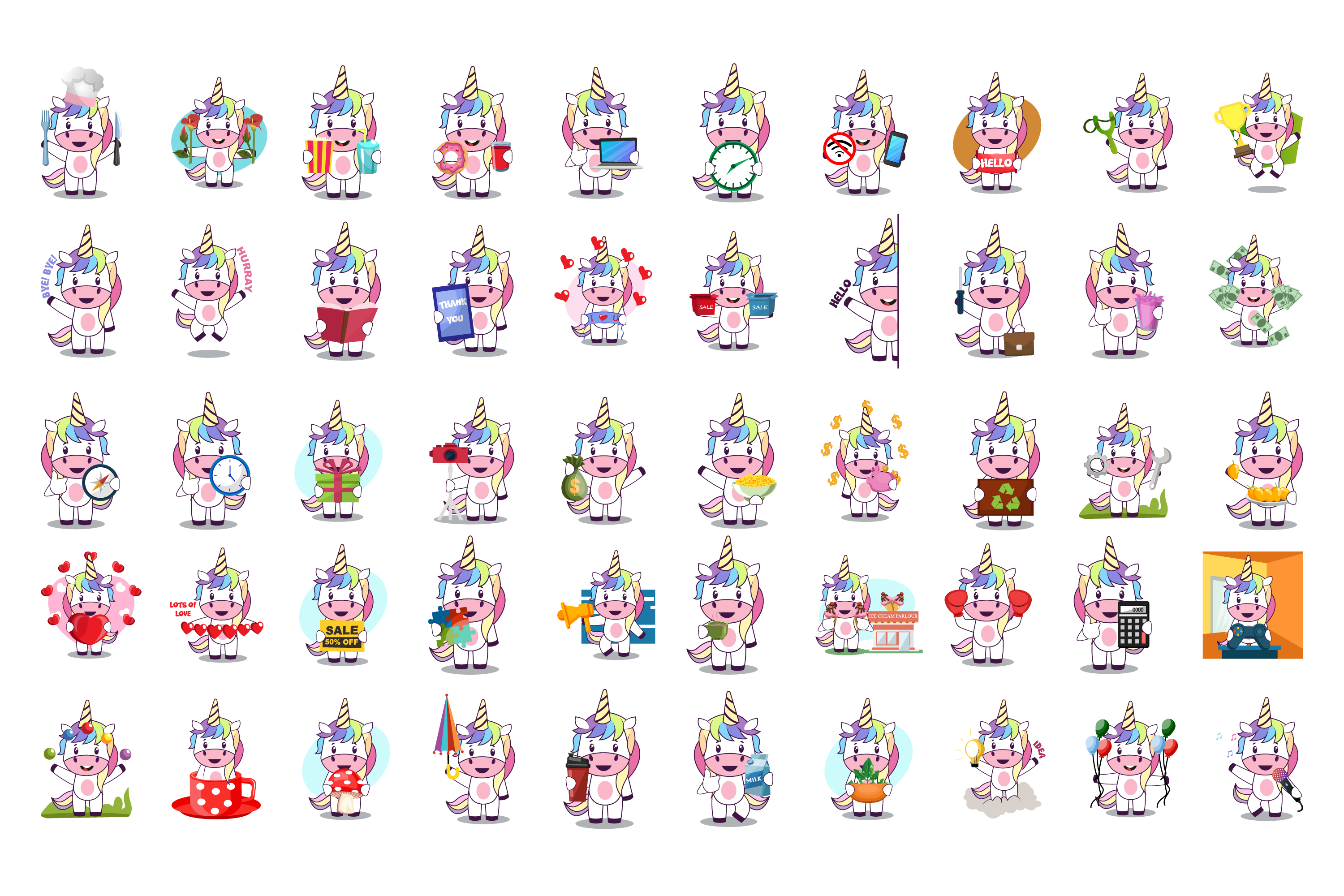 50x Unicorn Character Vector Illustration Pack example image 2