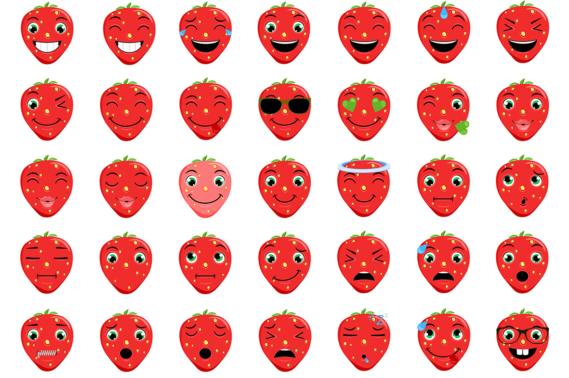 Strawberry Emoticons example image 2