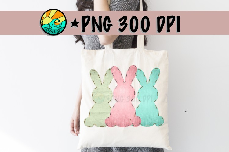 Three Bunnies - Pink - Texture - Easter - Sublimation - PNG example image 1