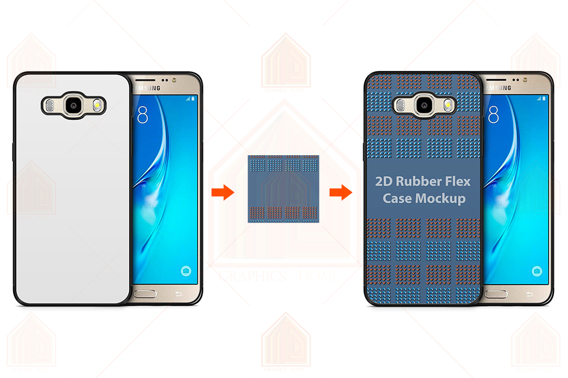 Galaxy J7 2016 2d RubberFlex Case Design Mockup Back-Front example image 1