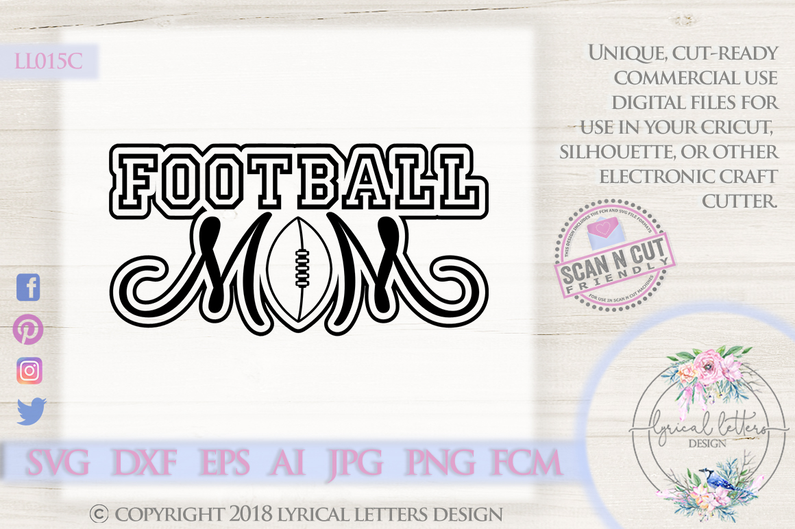 Football Mom SVG DXF Cut File LL015C example image 1