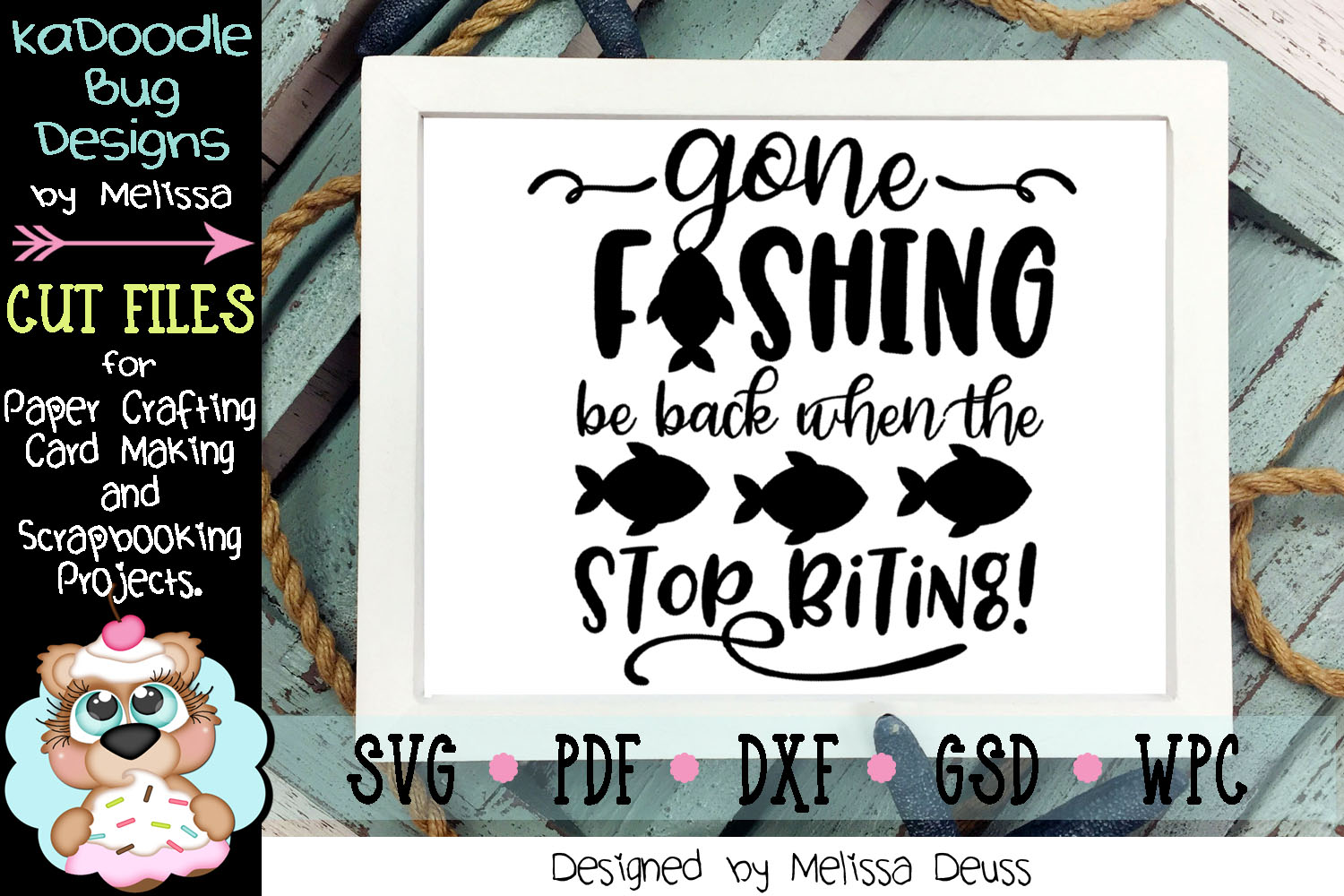 Gone Fishing Cut File - SVG PDF DXF GSD WPC example image 1