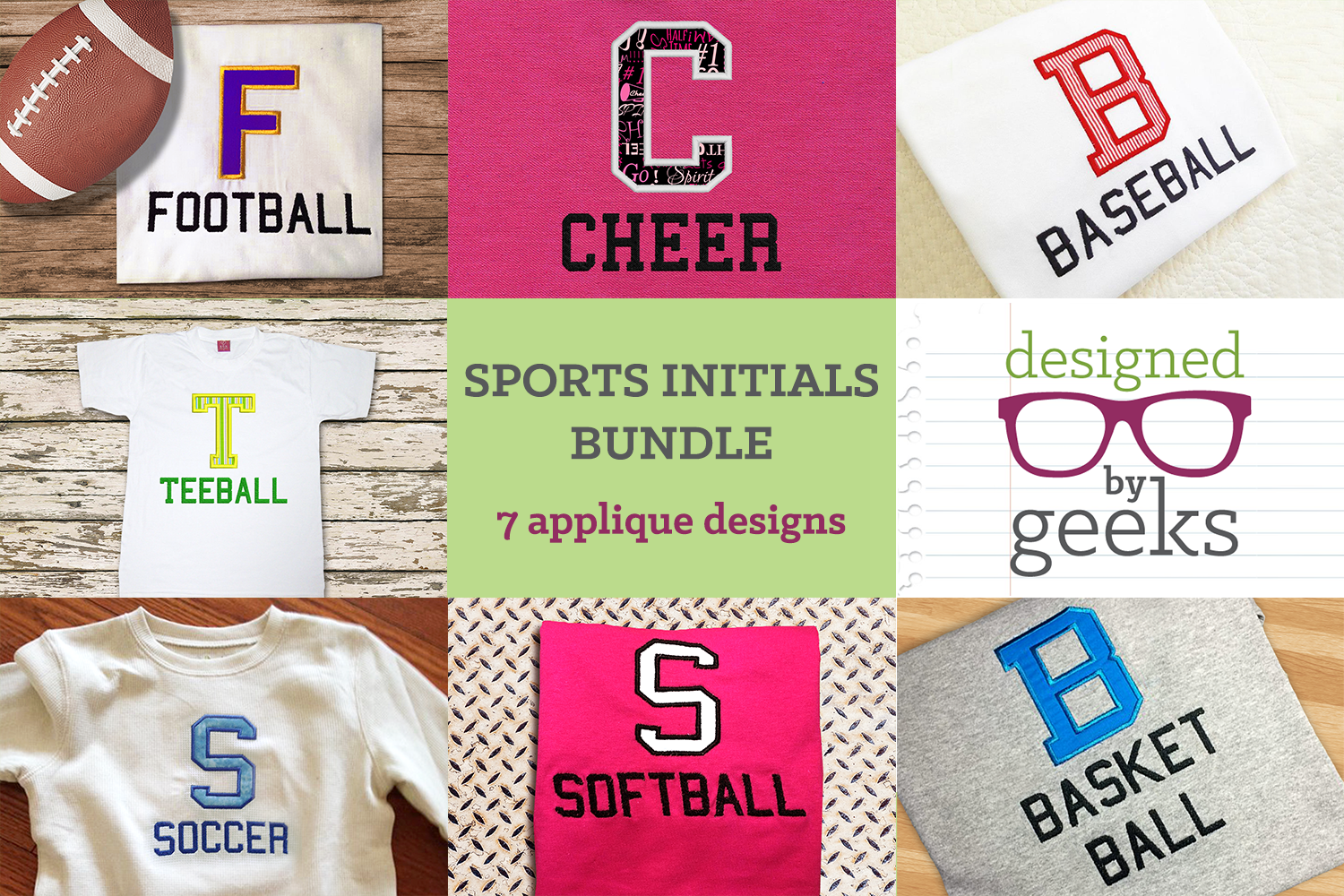 Sports Initials Applique Embroidery Design Bundle example image 1