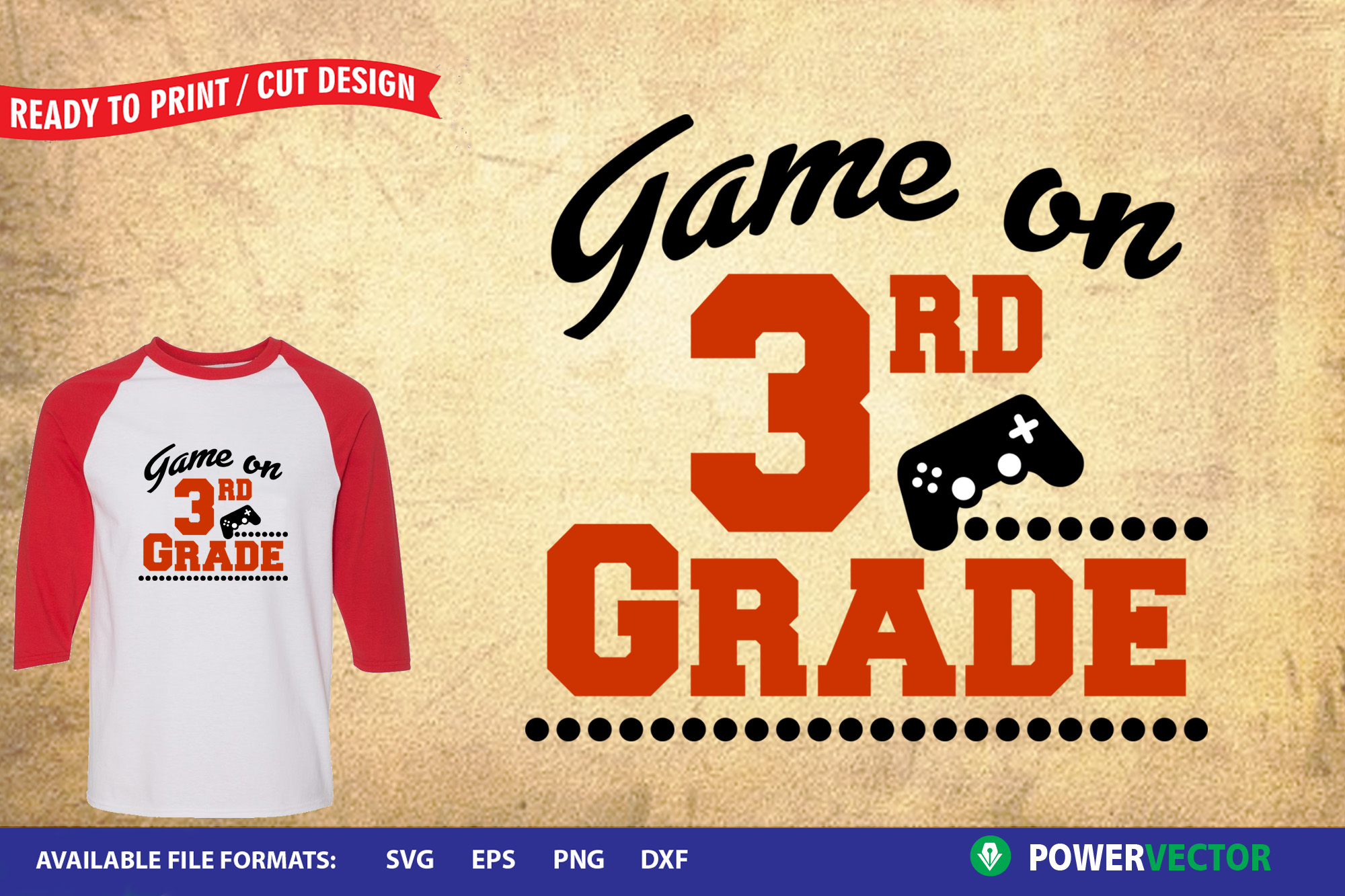 Game On 3rd Grade SVG   School boy t shirt design iron on example image 1