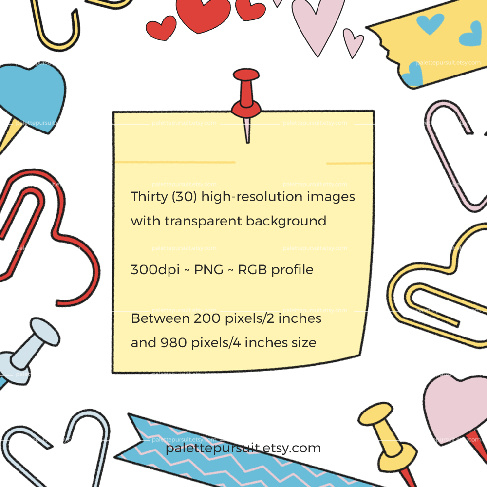 Office and School Supplies Clip Art in Love Theme example image 2