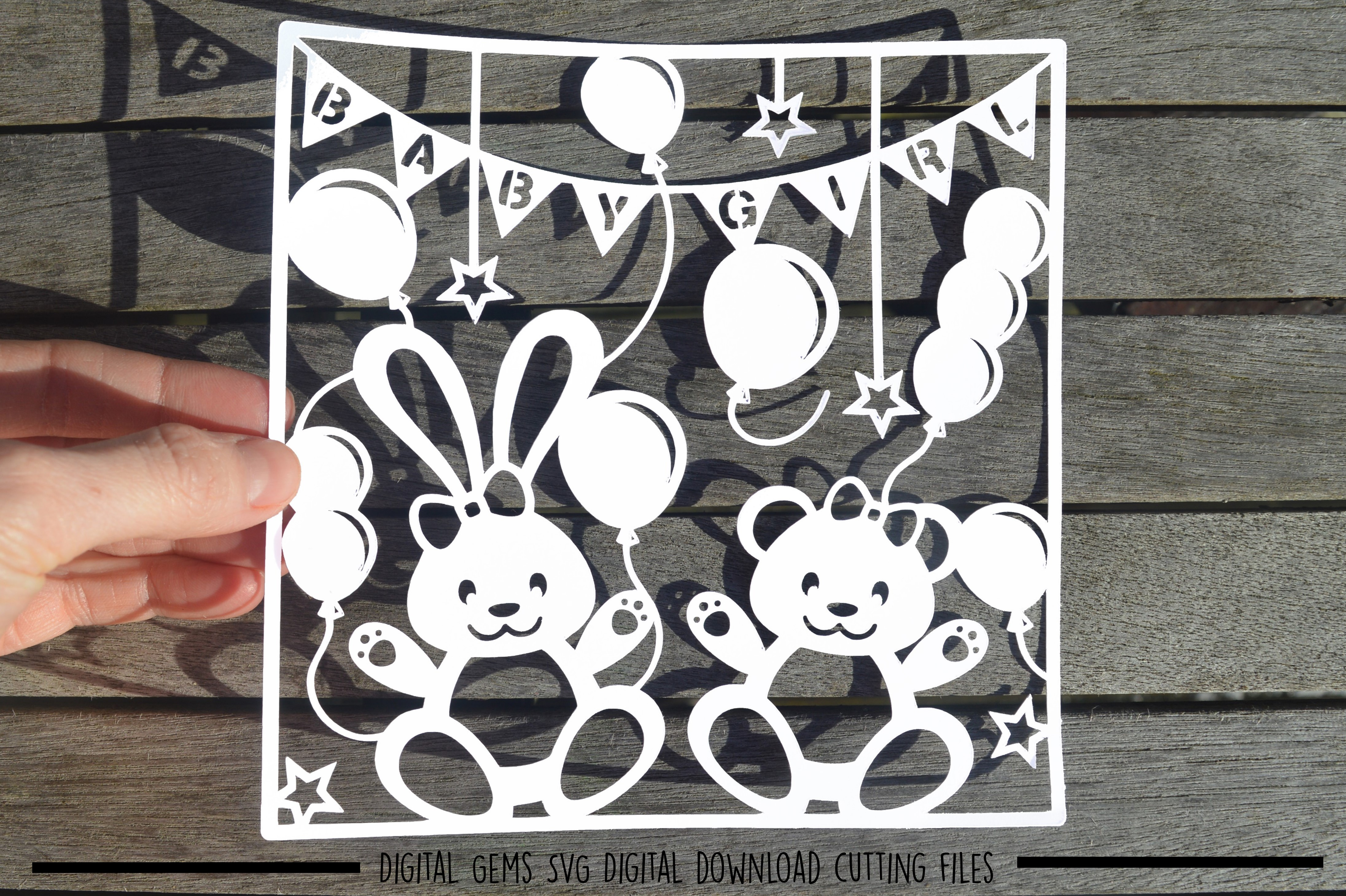 Baby Girl paper cut SVG / DXF / EPS files example image 4