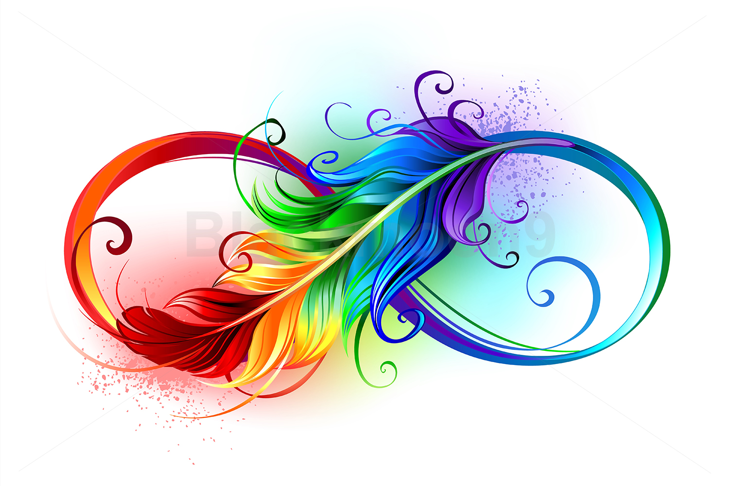 Infinity Symbol with Rainbow Feather example image 1