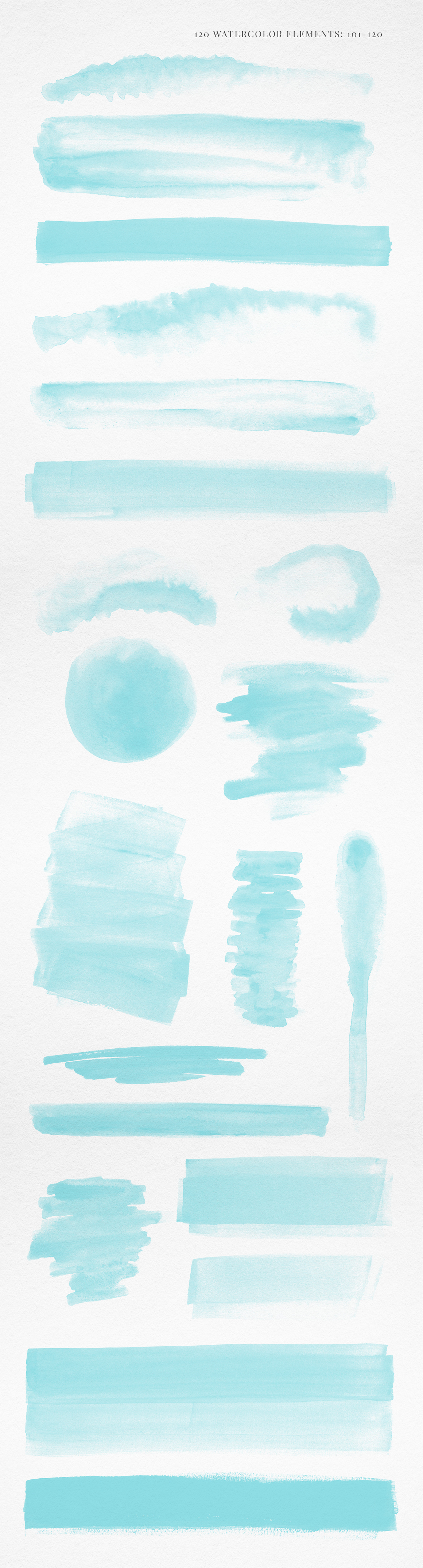 120 Turquoise Blue Watercolor Texture Elements example image 7