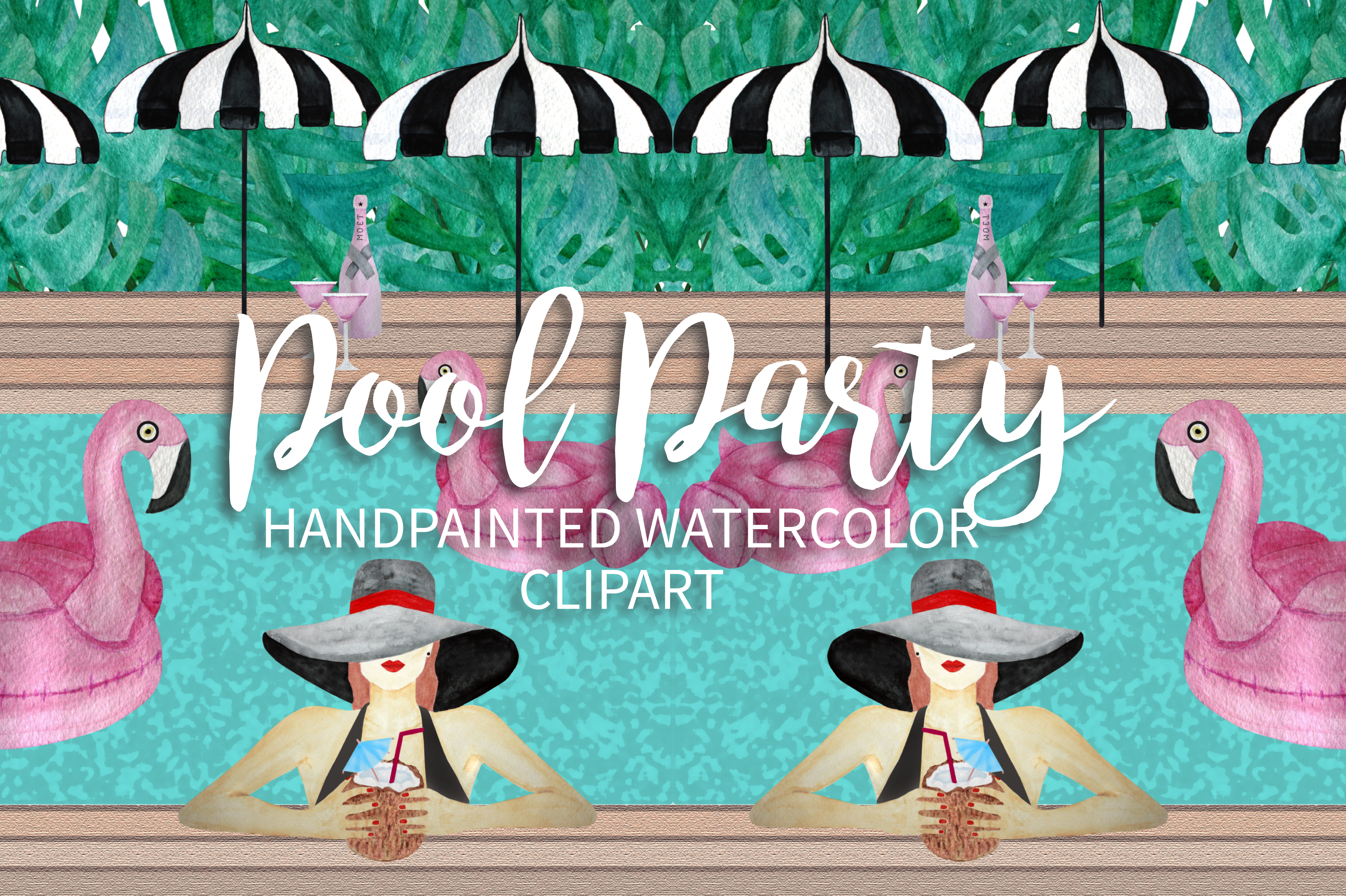 Pool Party Watercolor Clipart example image 4