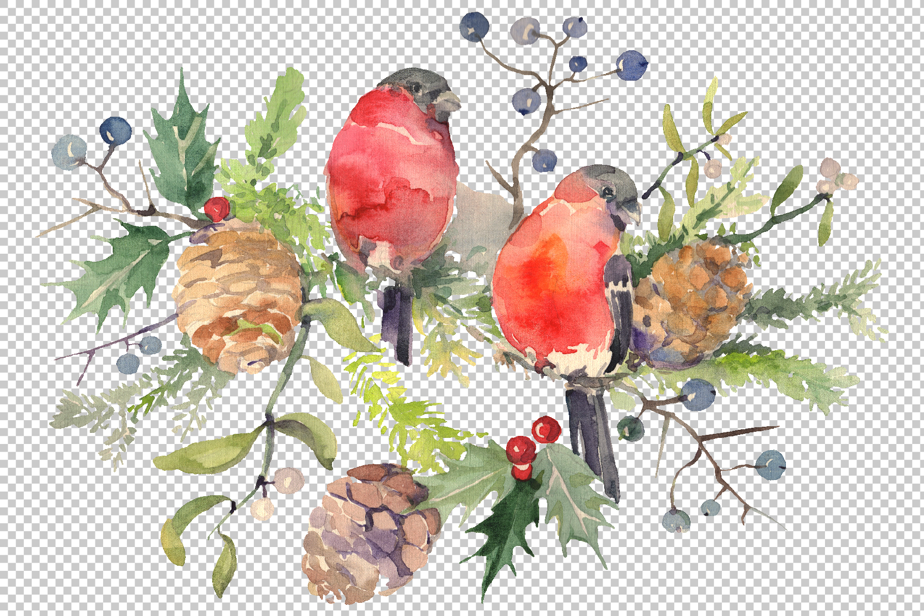Christmas bouquet with bullfinch Watercolor png example image 2
