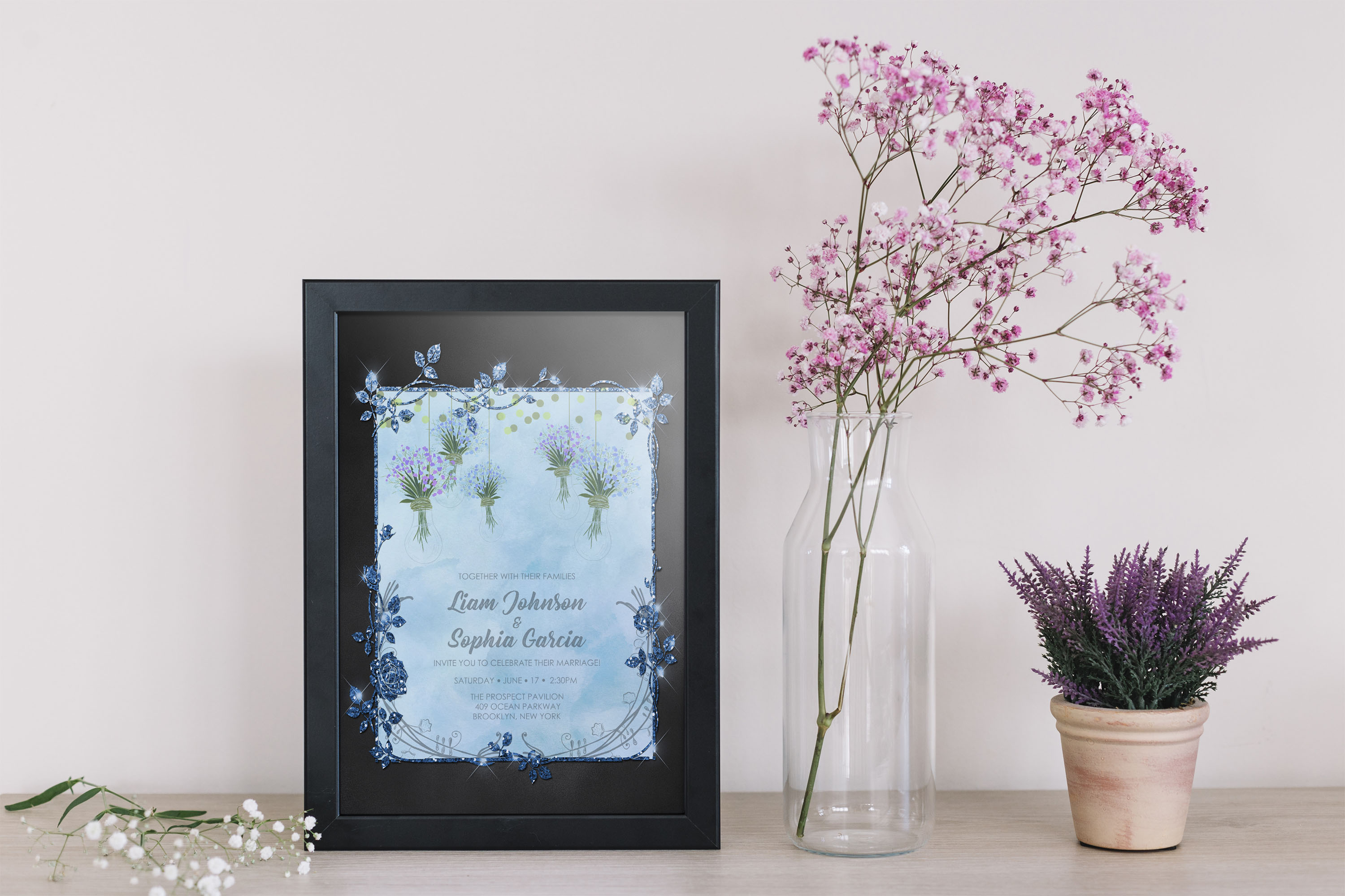 18 Glitter and Watercolor Leaf Branch Frame Invitation 5x7