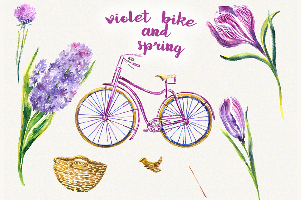 Bike clipart, Bicycle clipart, Spring flower clipart example image 2