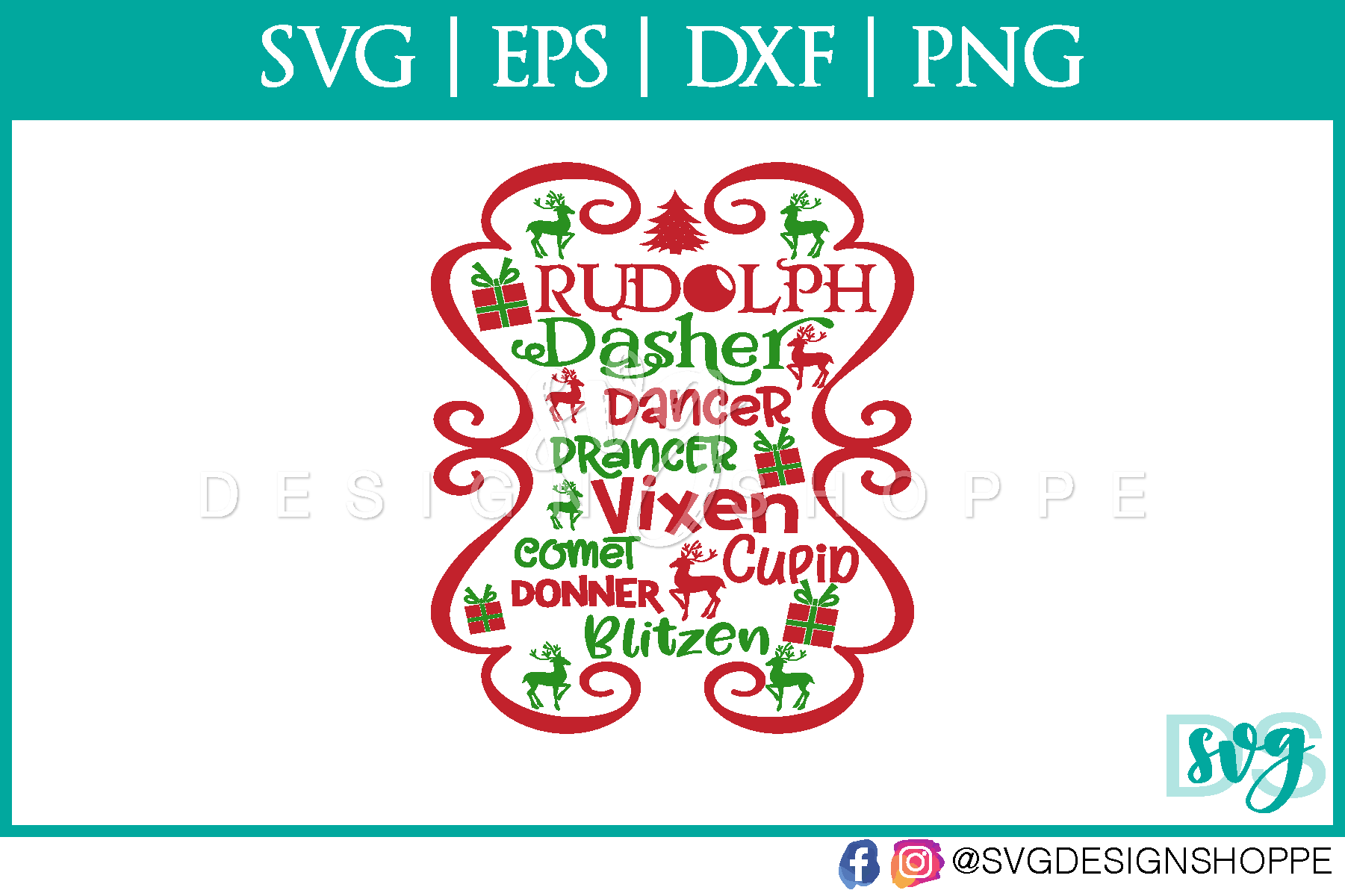 Christmas, Reindeer, SVG, Cricut Designs, DXF, PNG example image 2
