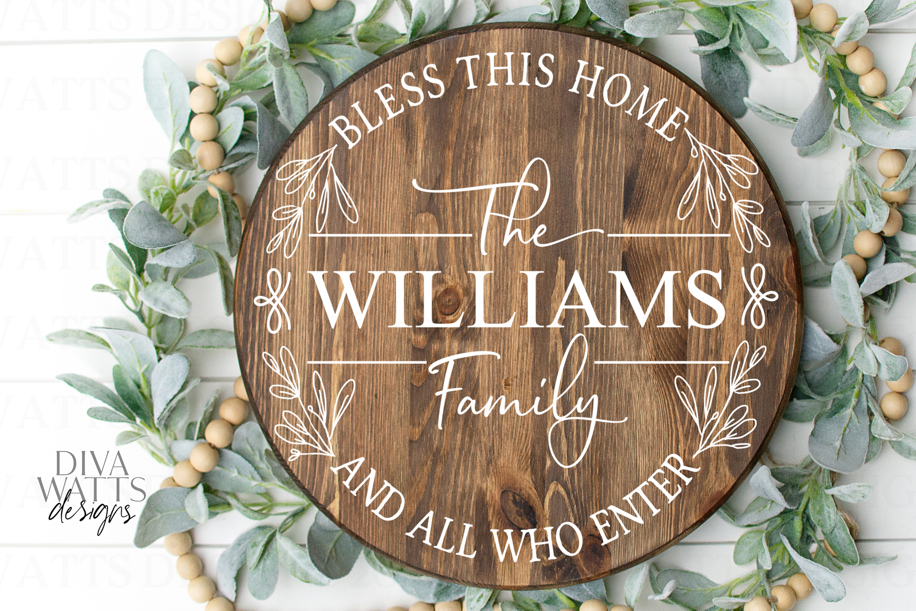 Bless This Home And All Who Enter - Family Name - Round SVG example image 2