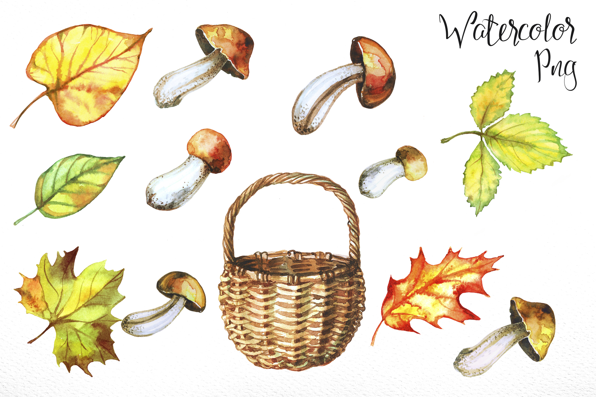 Mushroom harvest. Watercolor. example image 2