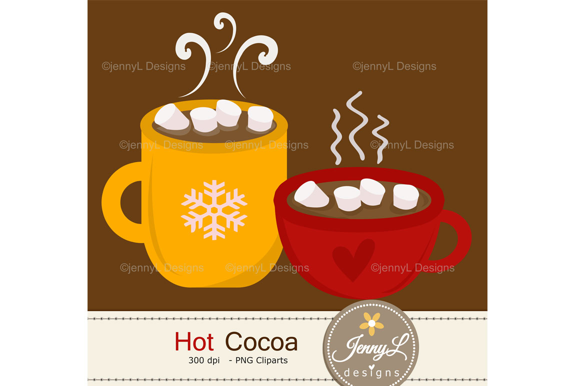 Hot Cocoa Digital Papers and marshmallow Clipart example image 4