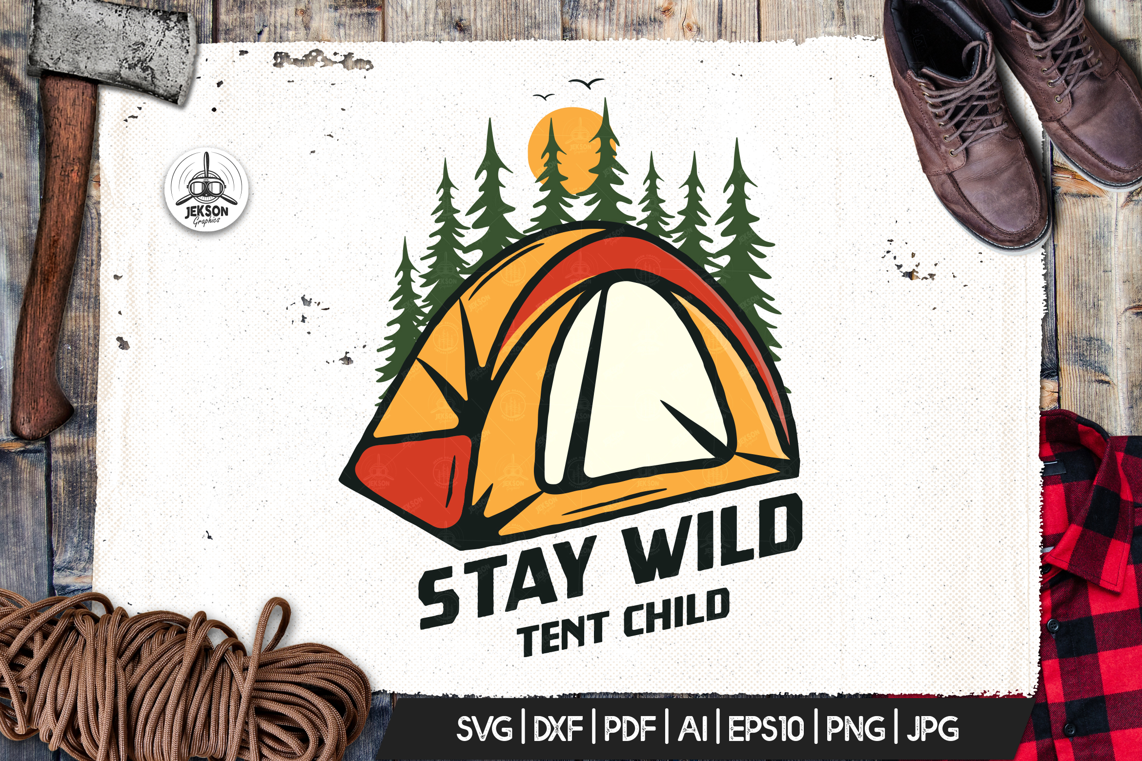 Camp Vector Patch - Hiking Adventure Retro Logo SVG Cut File example image 1
