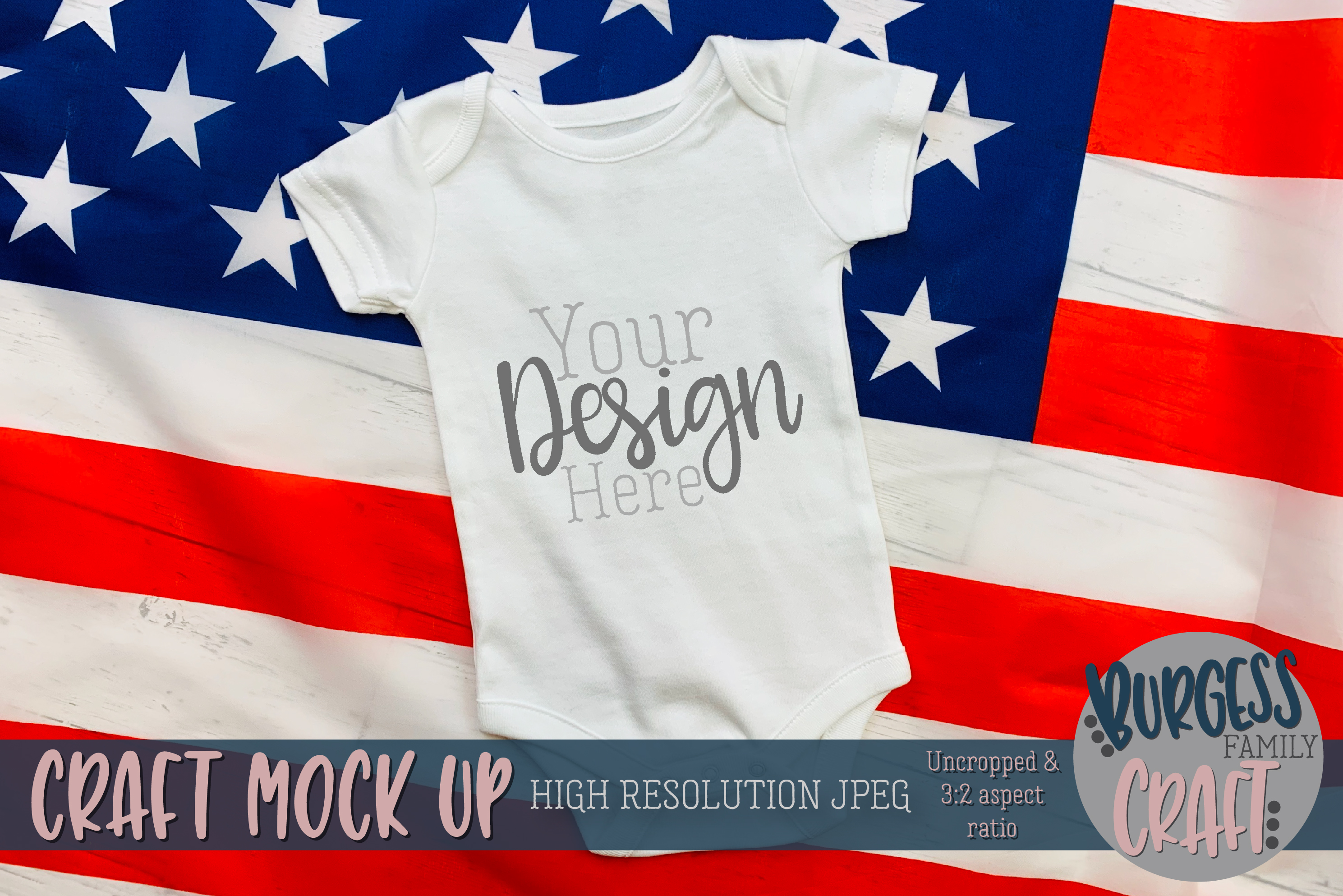 Patriotic USA baby bodysuit Craft mock up | High Res JPG example image 1