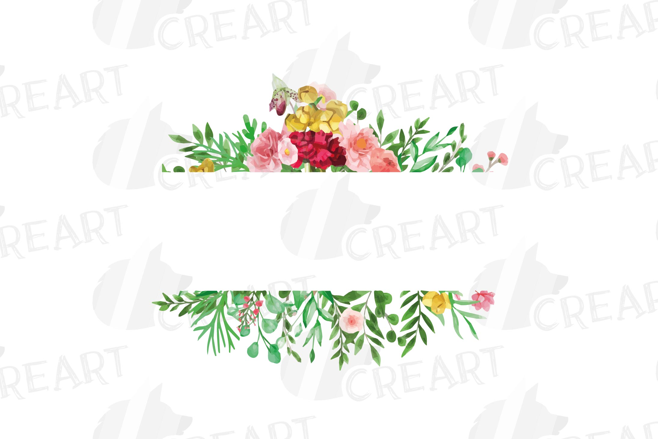Watercolor floral floral frames and borders clip art pack example image 13