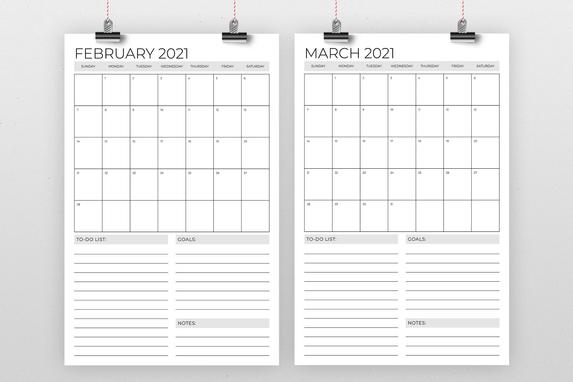 Vertical 11 x 17 Inch 2021 Calendar example image 2