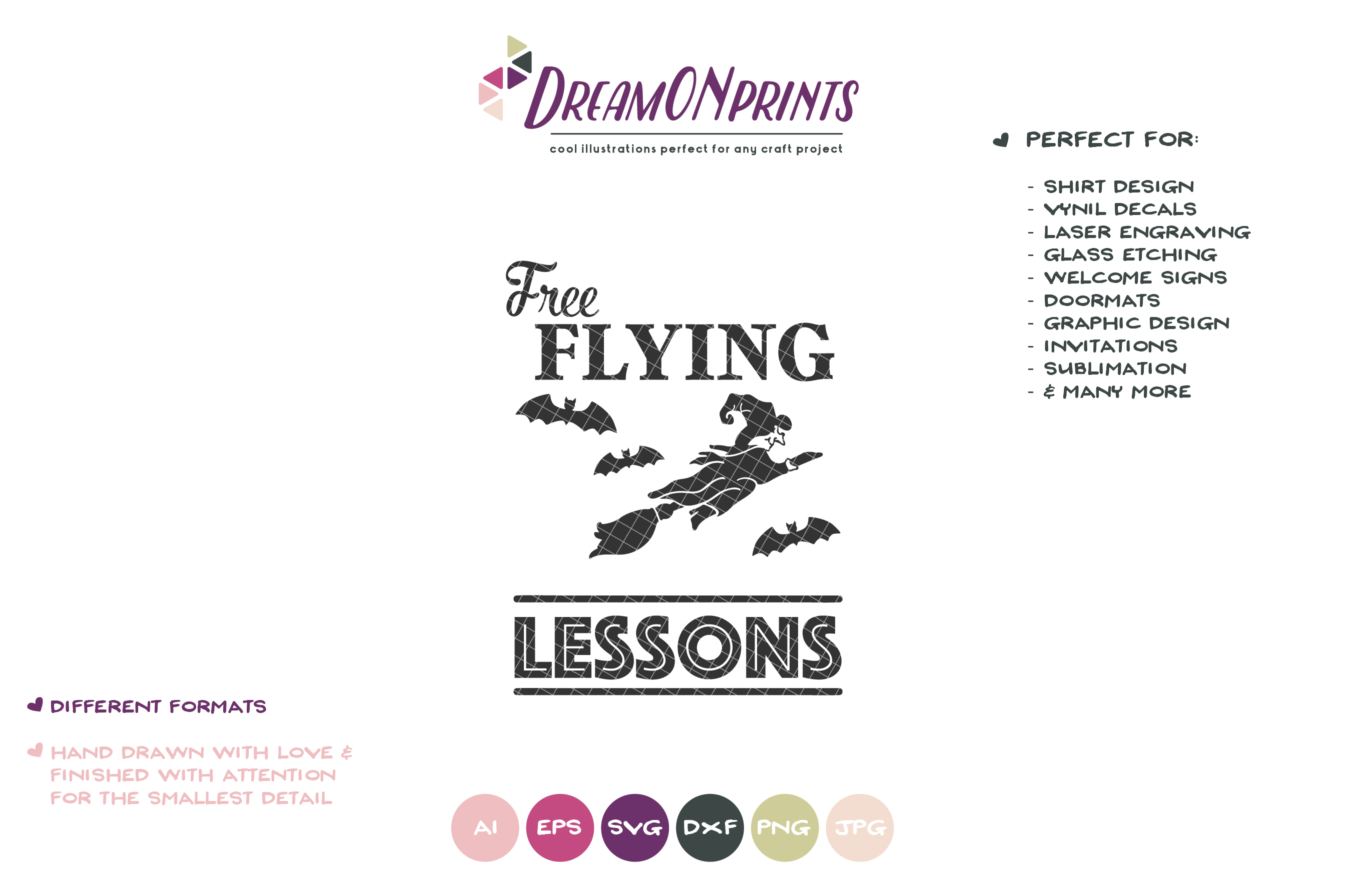 Free Flying Lessons| Witch SVG | Halloween SVG Cut File example image 2