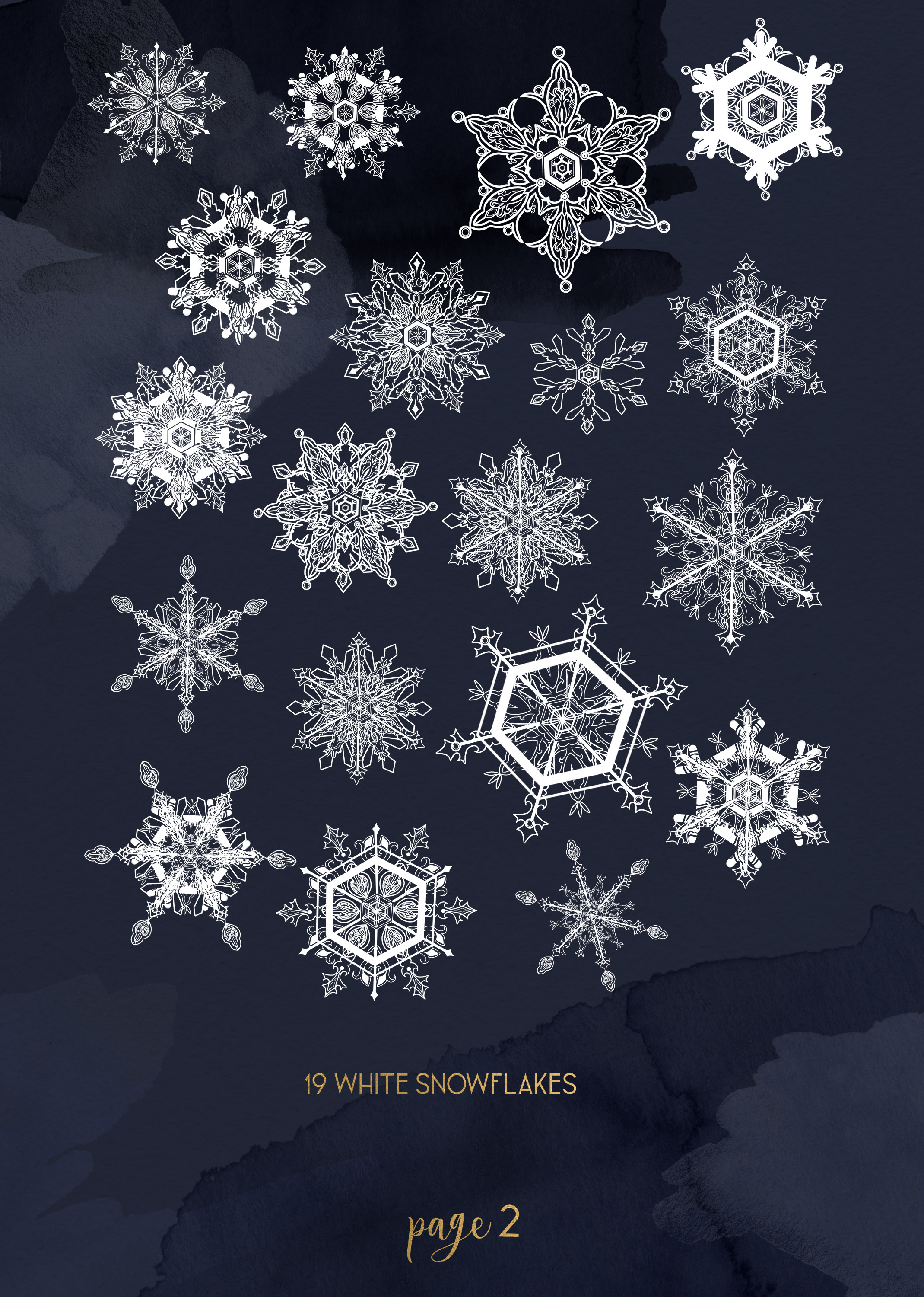 Winter snowflakes clipart set with watercolor splashes example image 3