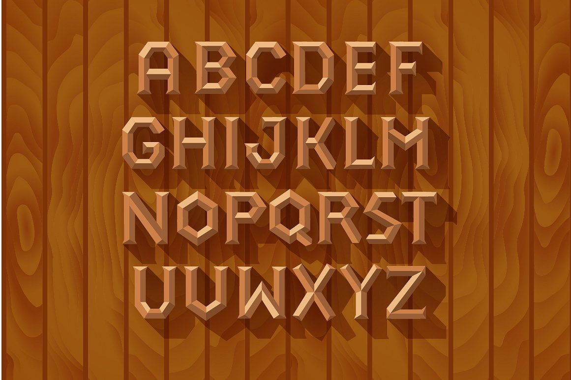 3D Font Set. Gold, wood, silver example image 3