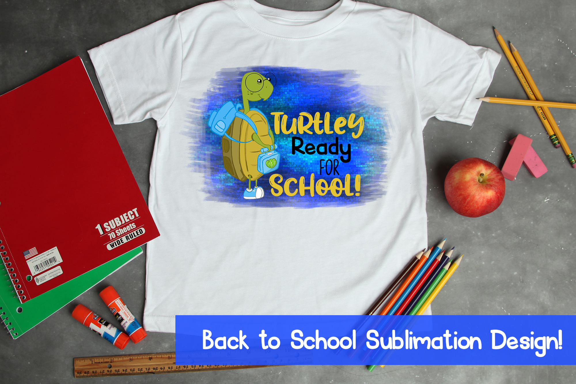 Turtlely Ready for School Sublimation|Turtle Sublimation|PNG example image 1
