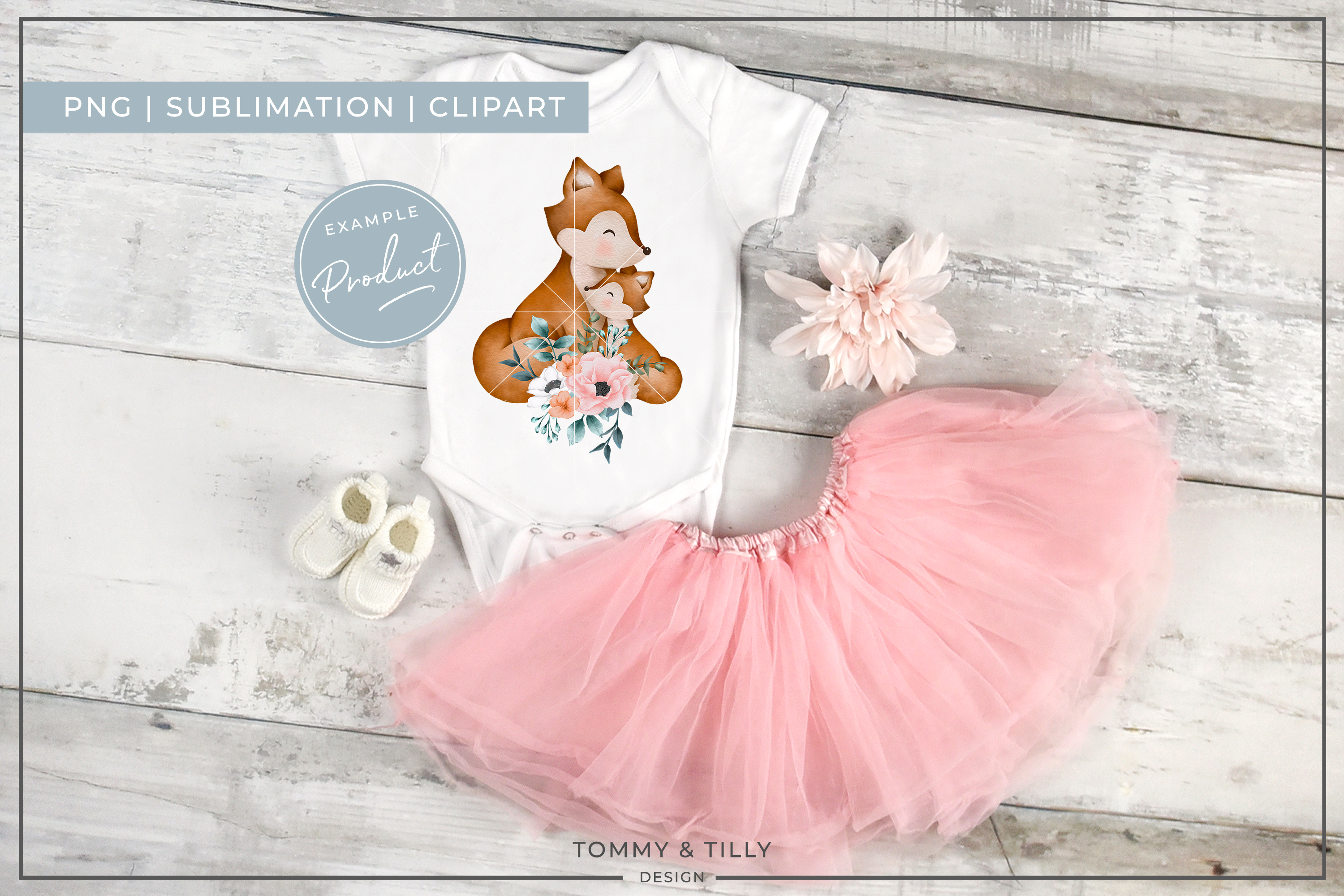 Floral Mummy and Baby Fox - Sublimation PNG Clipart example image 2