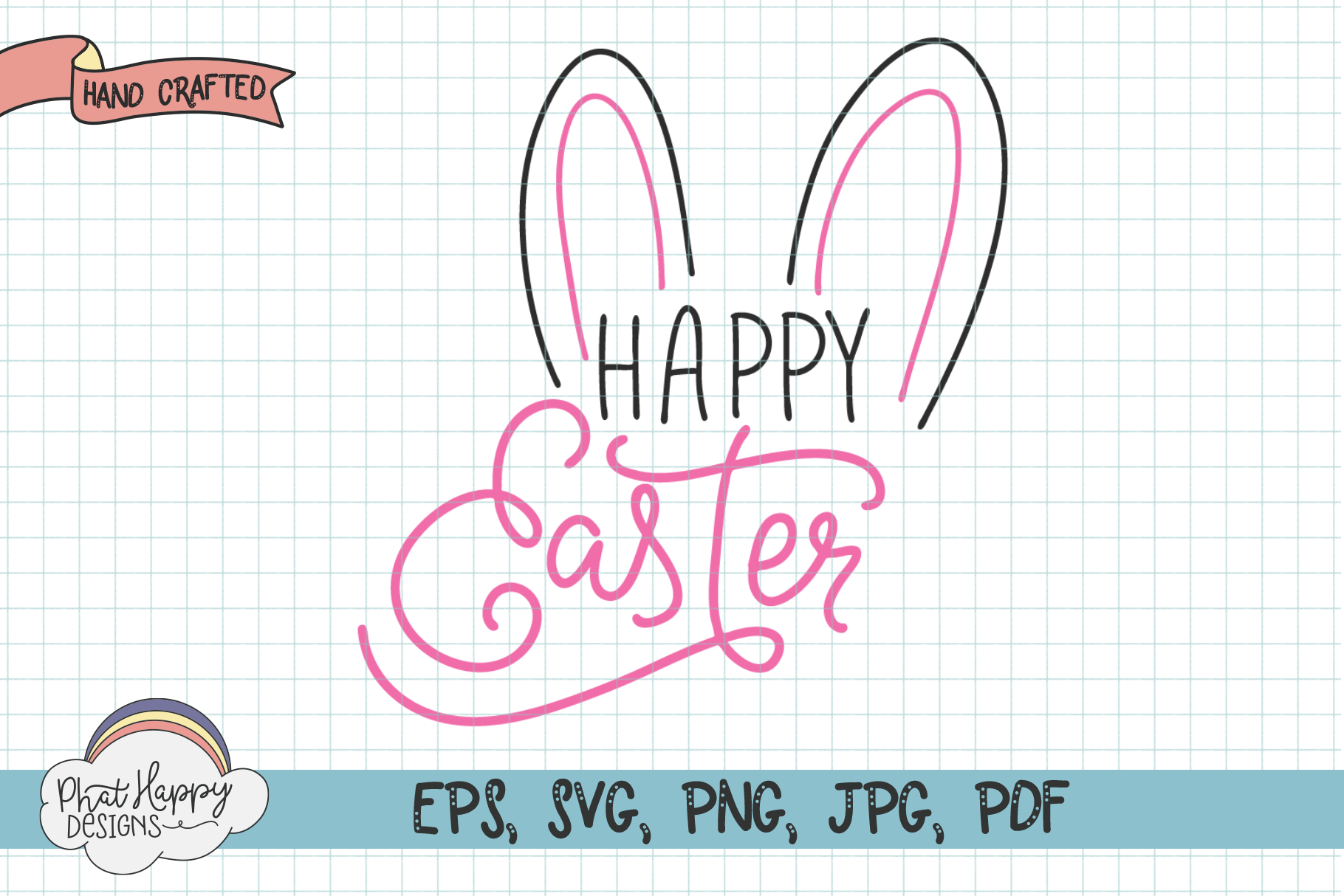 Happy Easter - Hand Lettered Easter SVG example image 1