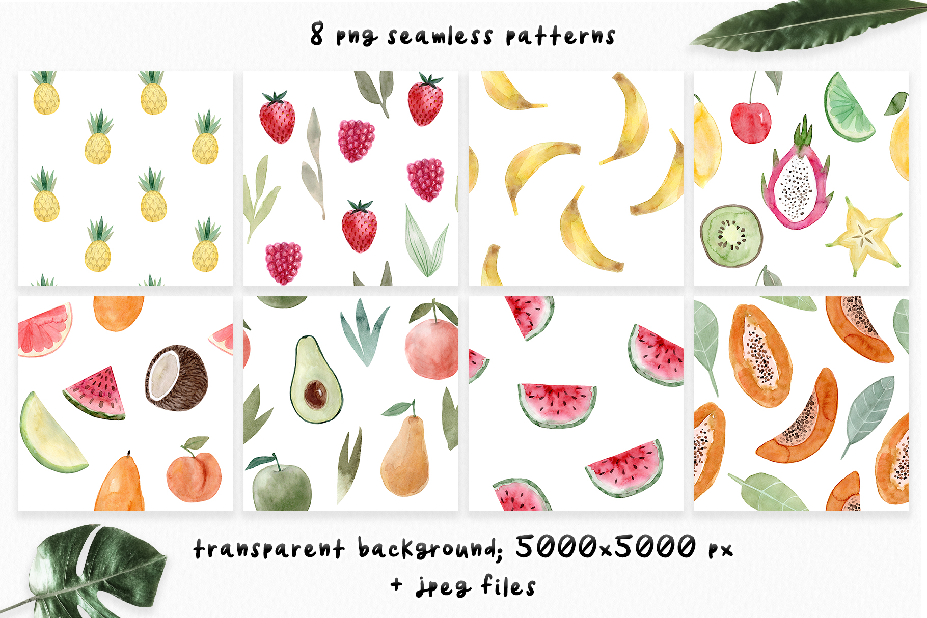 Watercolor Fruits. Patterns, Clipart example image 3