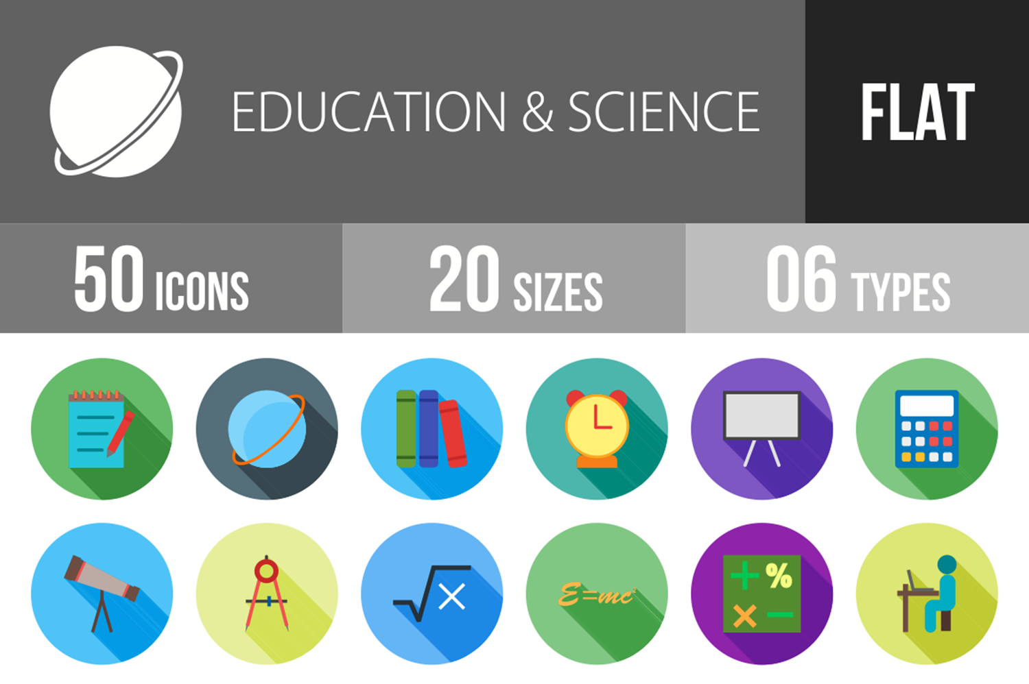 50 Education & Science Flat Long Shadow Icons example image 1