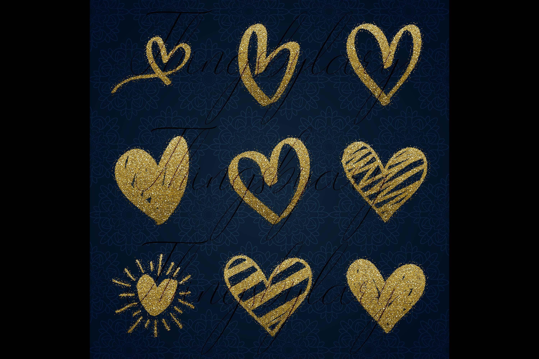 30 Gold Glitter Hand Drawn Heart Clip Arts Wedding Valentine example image 6