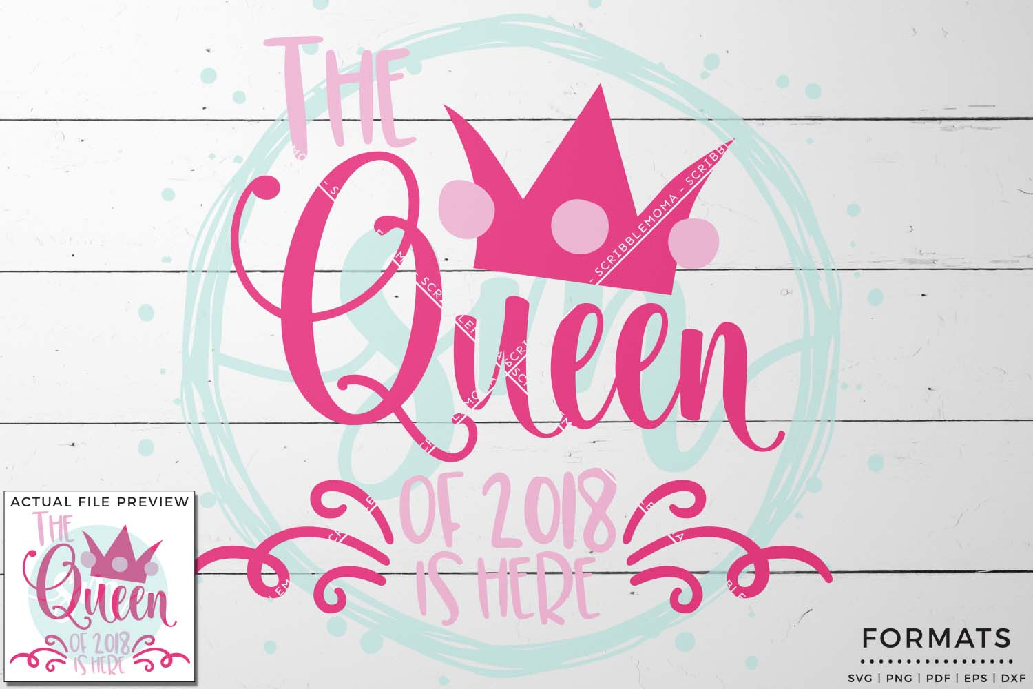 Queen of 2018 SVG - Small Commercial Use SVG & Instant Download example image 1
